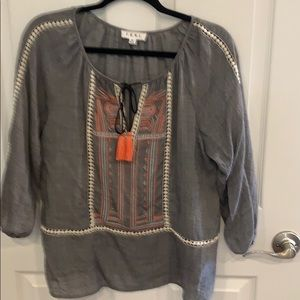 Peasant style top with embroidered front